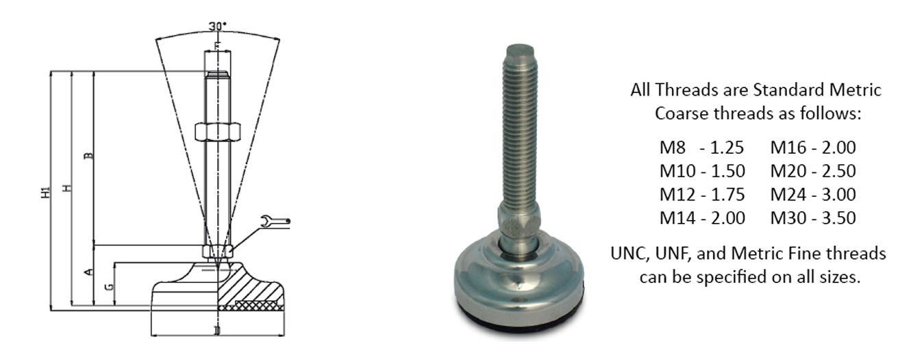 articulated stainless steel leveling feet