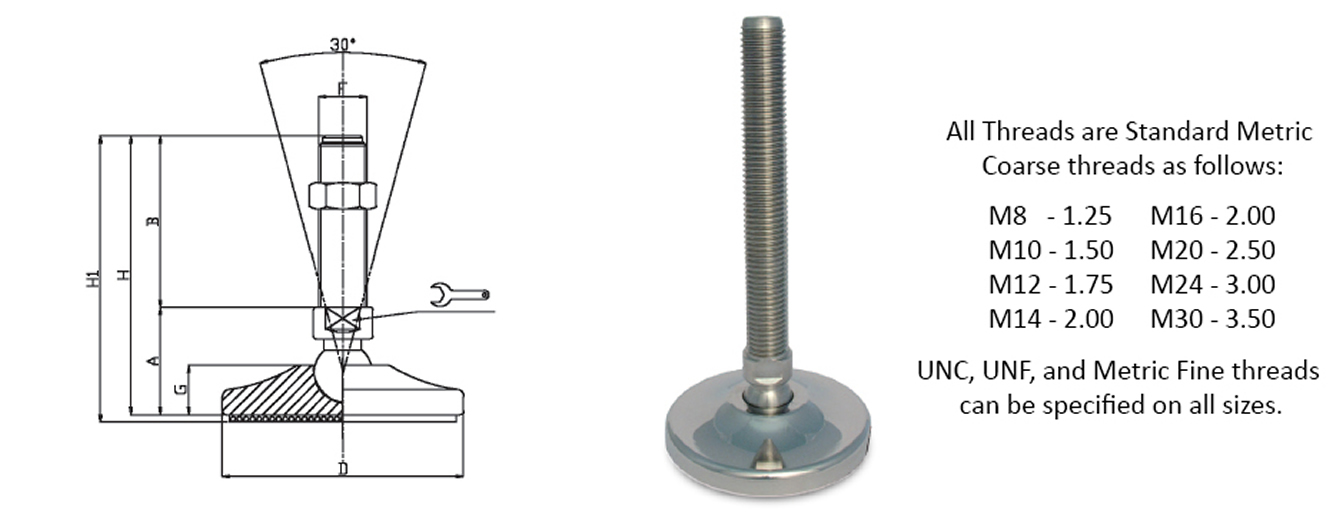 stainless steel articulated leveling feet