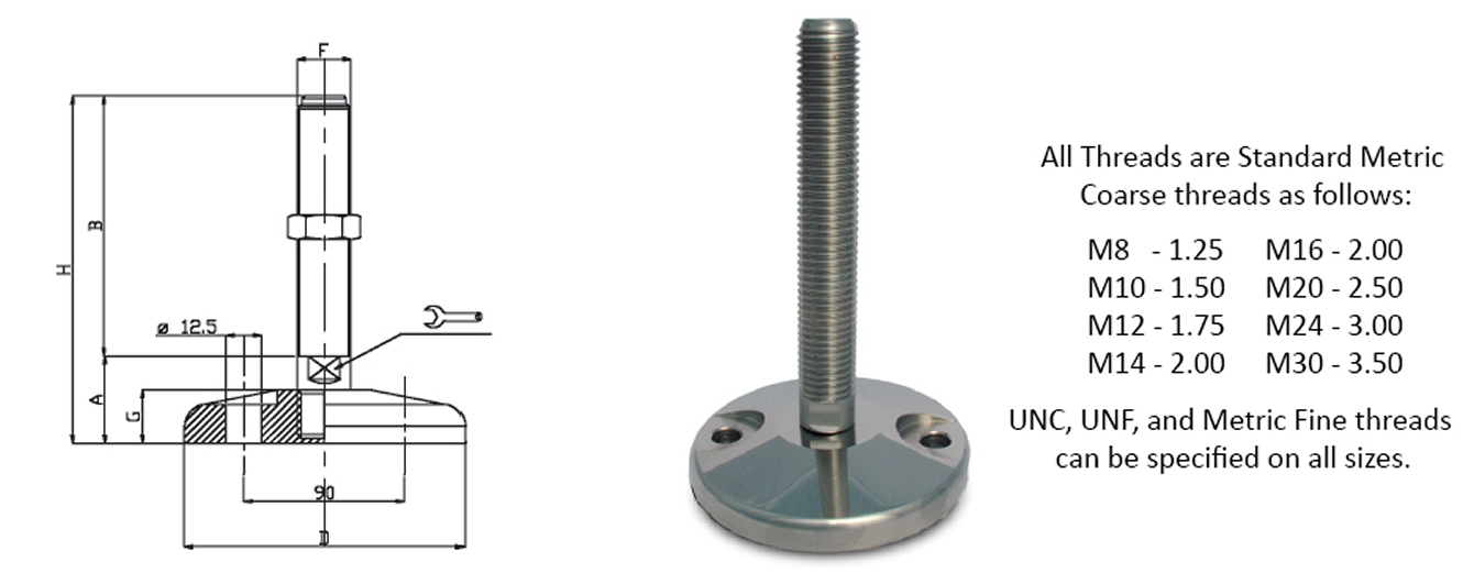 stainless steel leveling feet heavy duty
