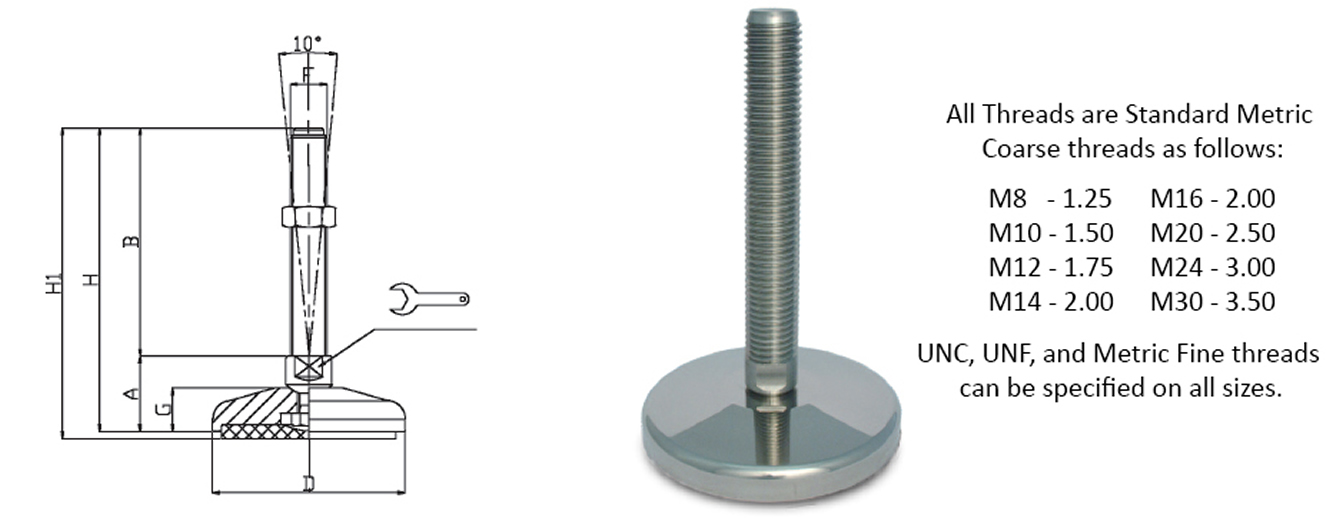 heavy duty stainless steel levelers