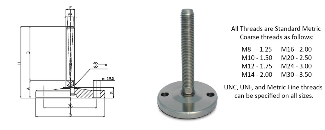 stainless steel leveling mount medium load