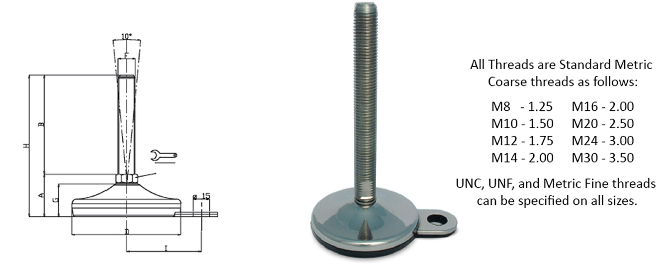 stainless steel vulcanized leveling feet