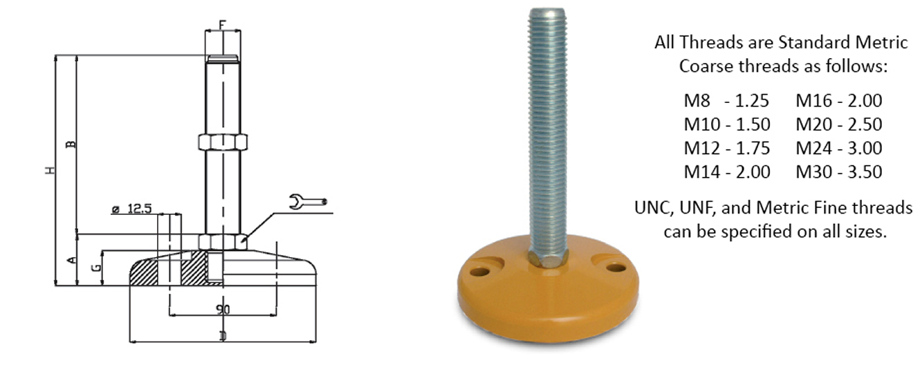steel leveling feet heavy duty