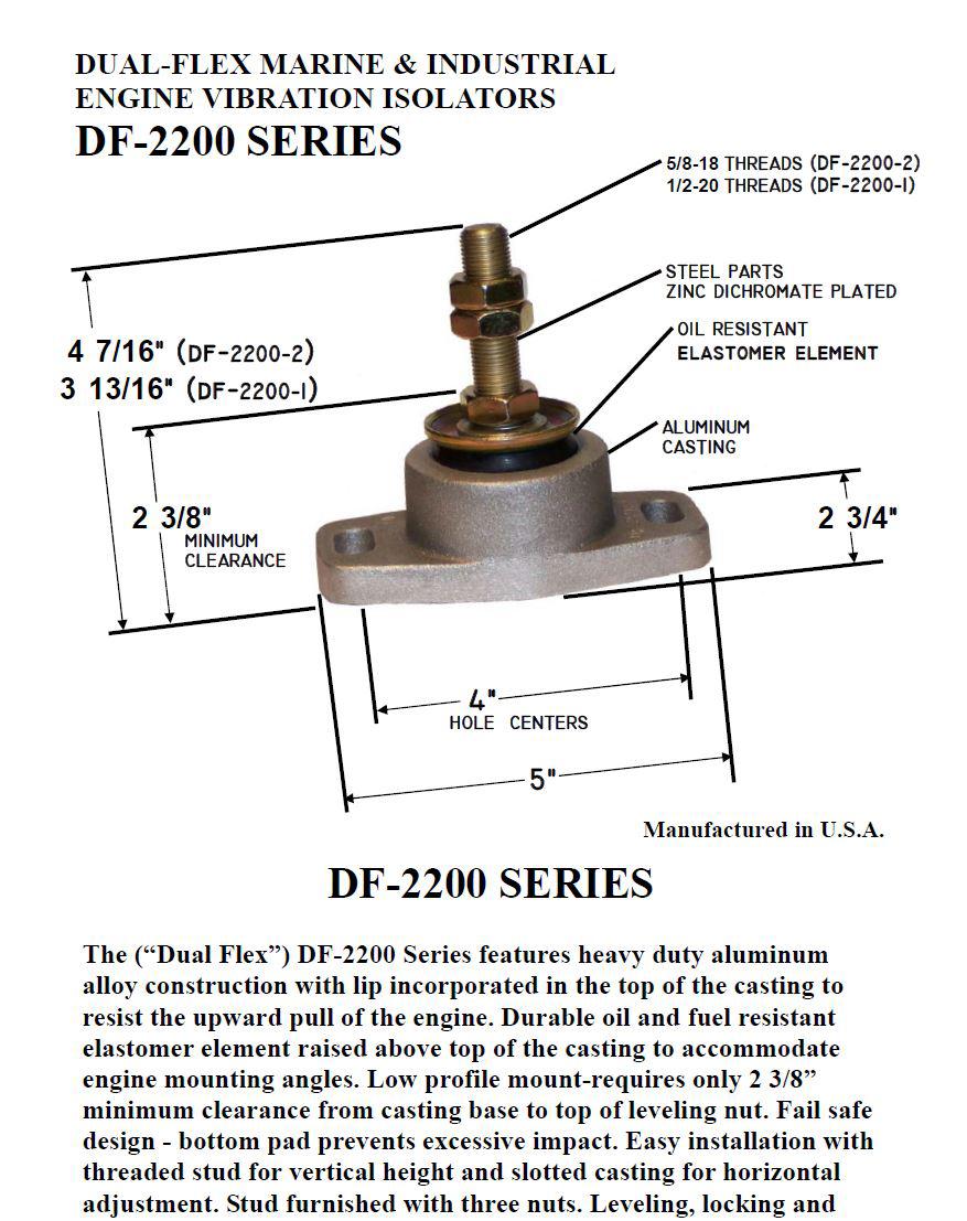 Bushings DF-2205-2 Dual Flex Marine Engine Mount